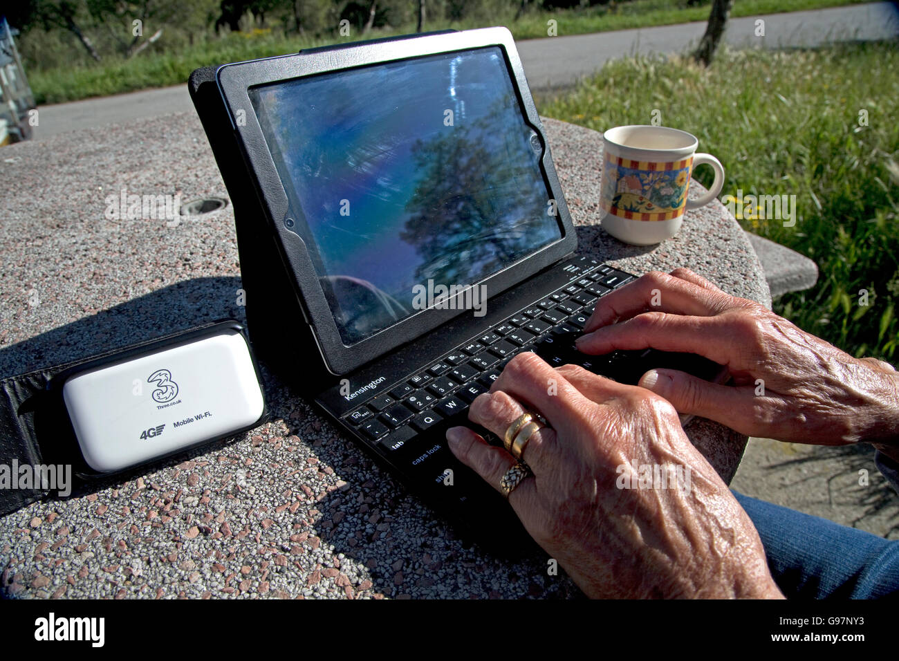 Woman using iPad with 4G mobile wifi system at rest area in country France - Stock Image