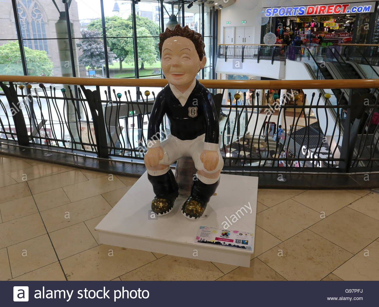 Oor Bobby sculpture by Nina Garty on Oor Wullie Bucket Trail in Overgate Centre Dundee Scotland  June 2016 - Stock Image