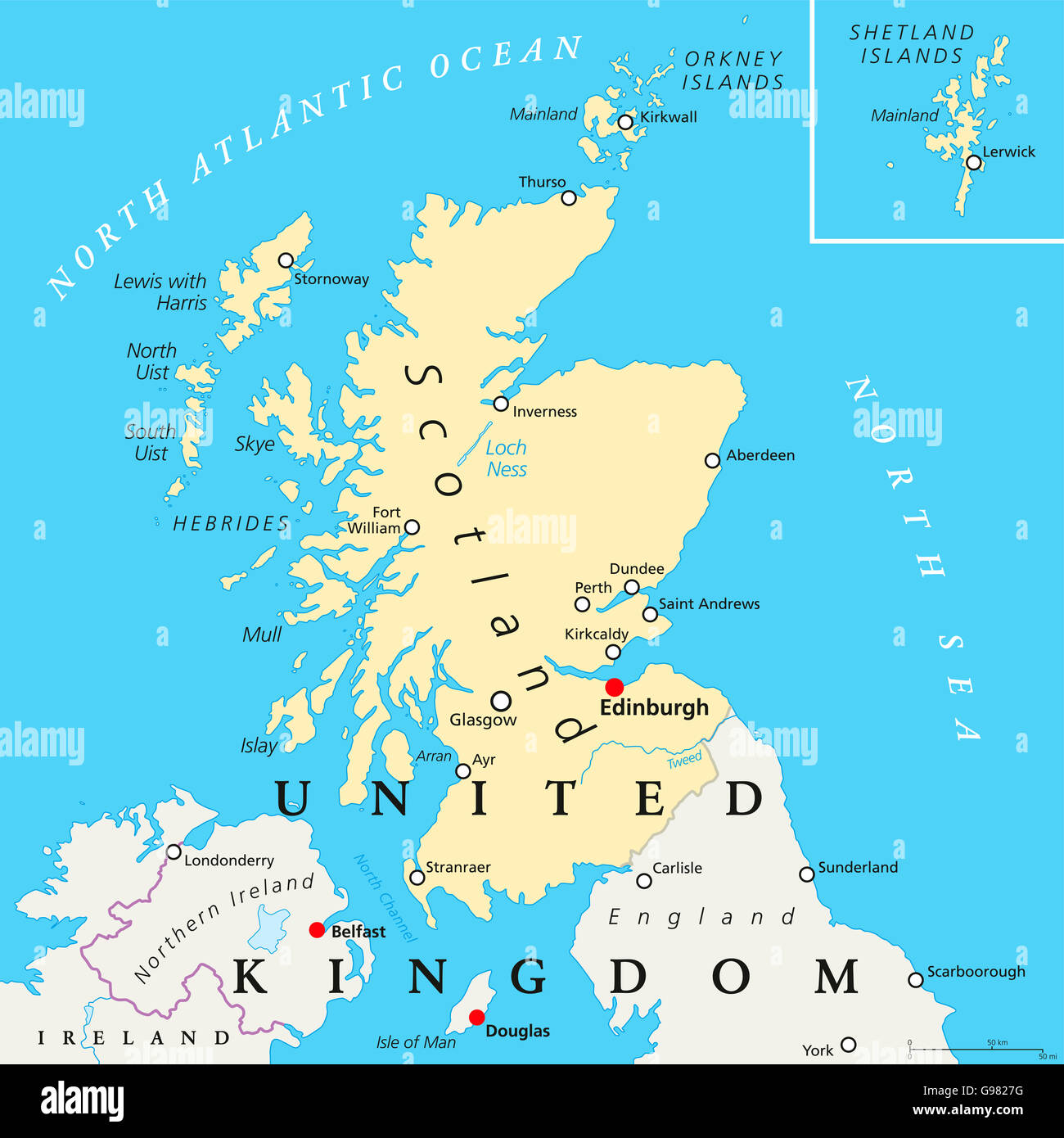 Edinburgh Scotland Map Scotland political map with capital Edinburgh, national borders  Edinburgh Scotland Map