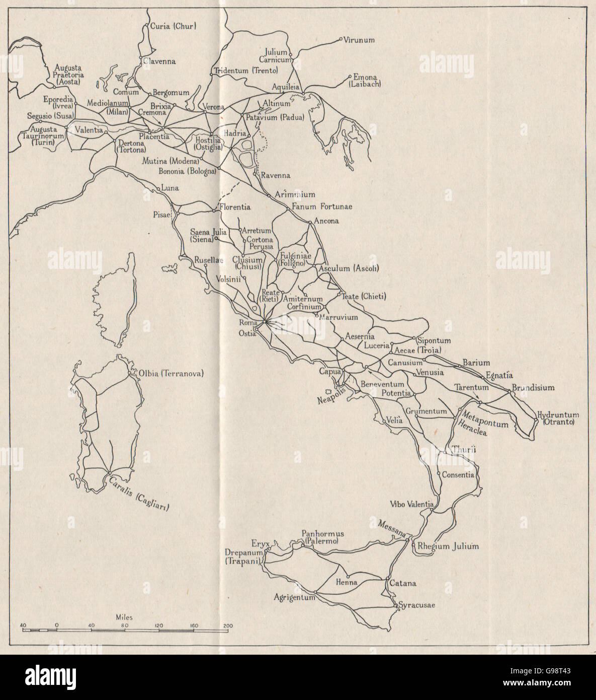 ITALY Roman roads WW2 ROYAL NAVY INTELLIGENCE MAP 1945 Stock