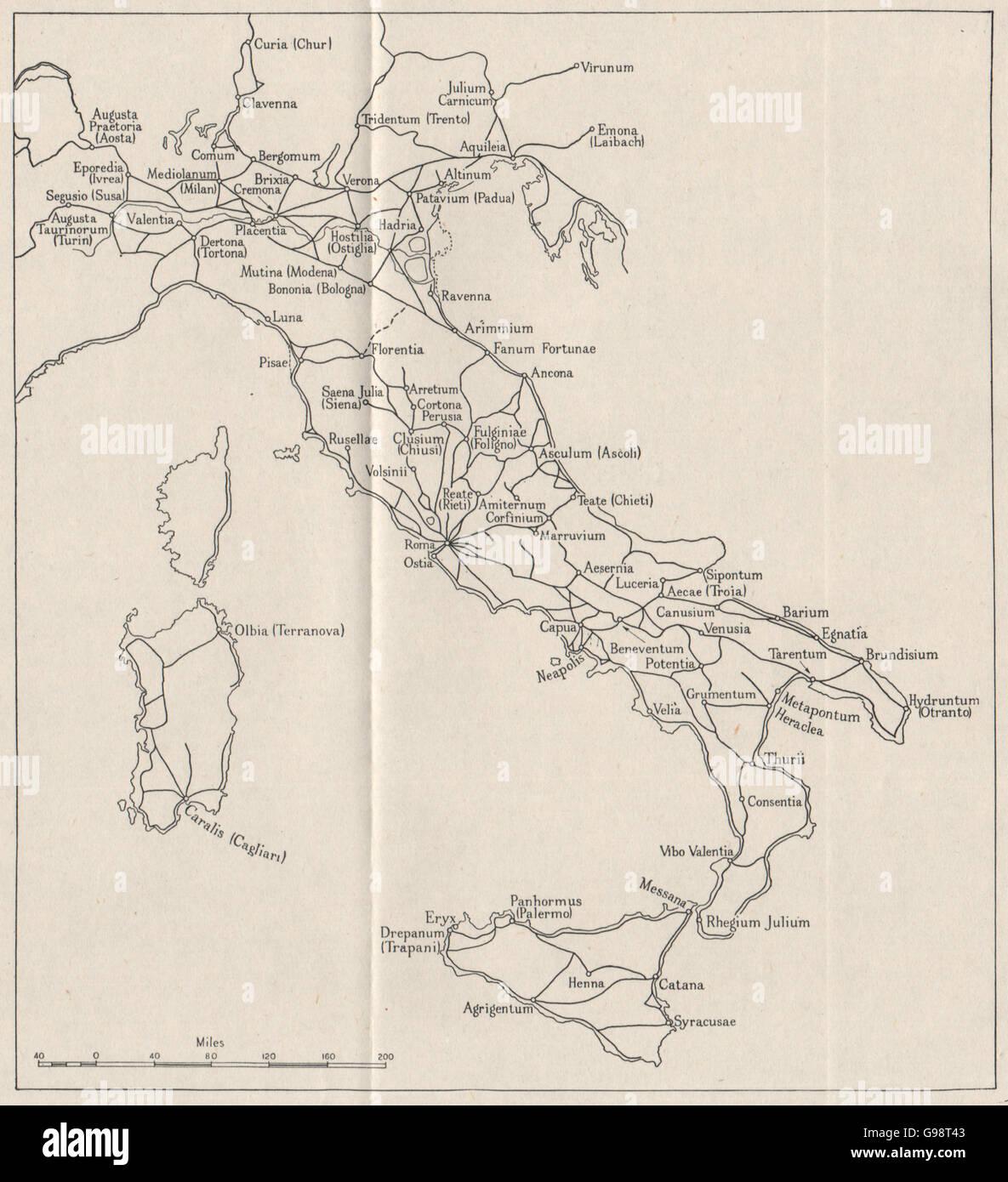 ITALY: Roman roads. WW2 ROYAL NAVY INTELLIGENCE MAP, 1945 - Stock Image