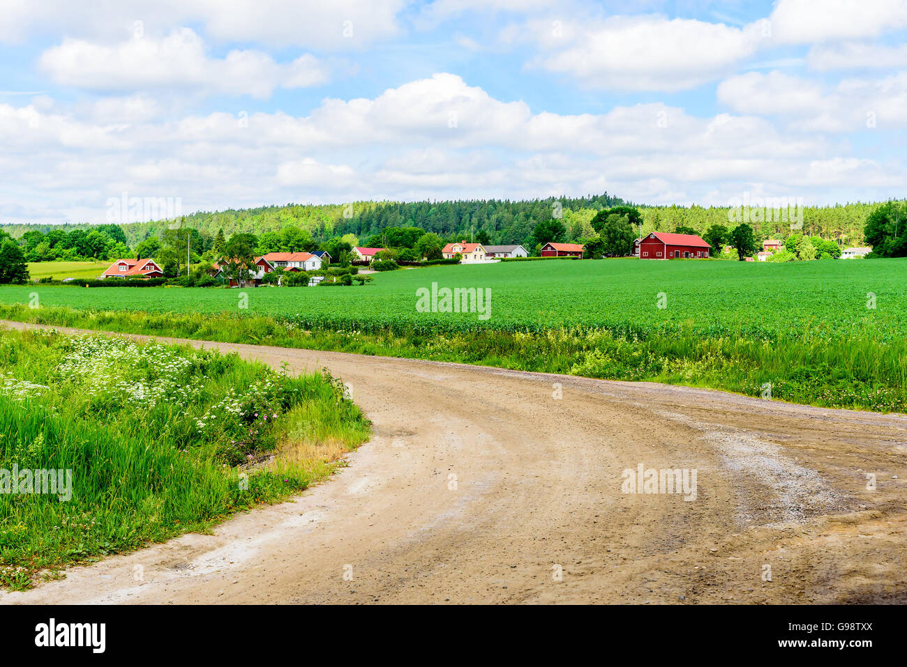 Loddby, Sweden – June 20, 2016: The village of Loddby seen from a fork in the road. Forest in the background and - Stock Image