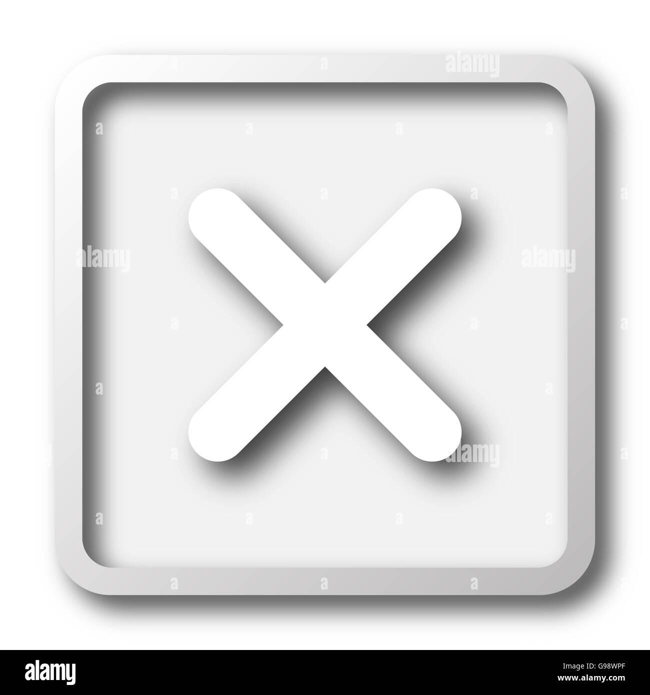 X close icon  Internet button on white background Stock