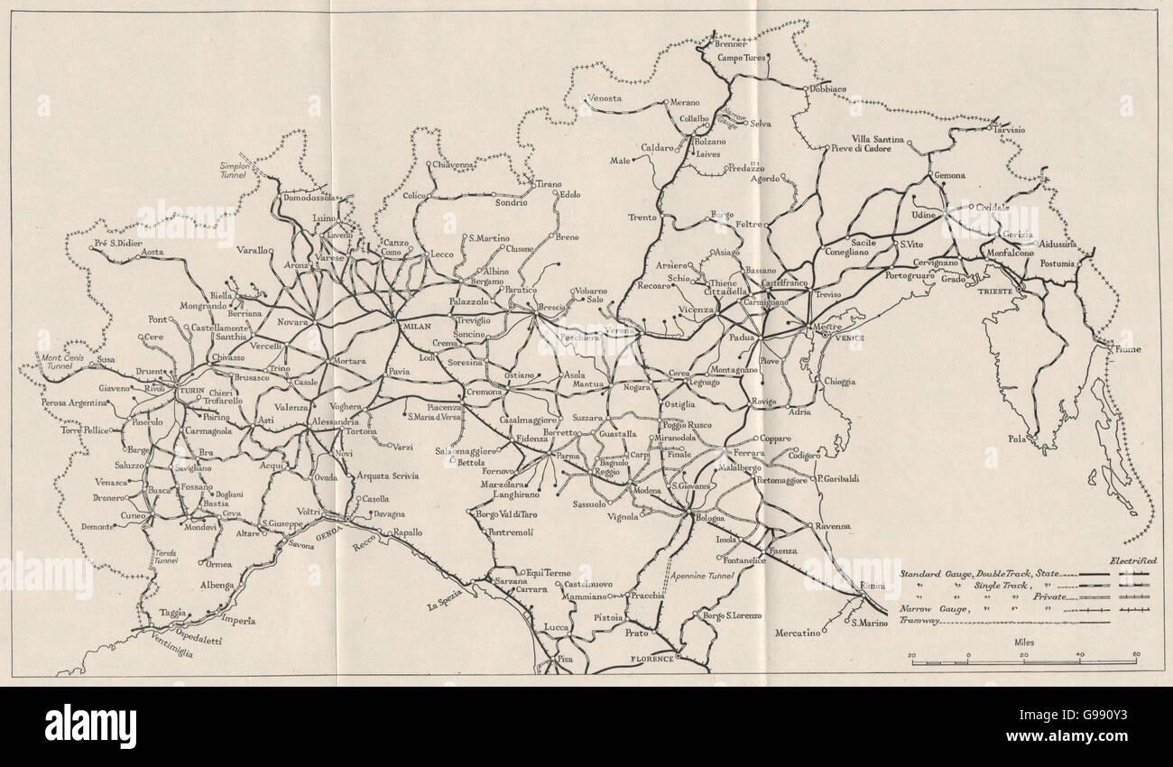 NORTHERN ITALY: Railways. WW2 ROYAL NAVY INTELLIGENCE MAP, 1945 - Stock Image