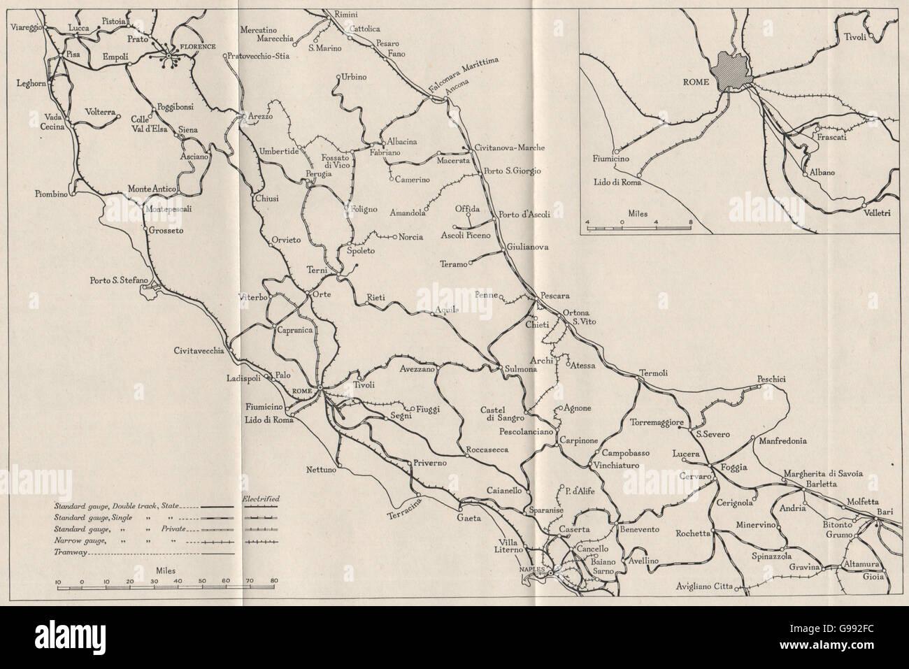 CENTRAL ITALY: Railways. WW2 ROYAL NAVY INTELLIGENCE MAP, 1945 - Stock Image