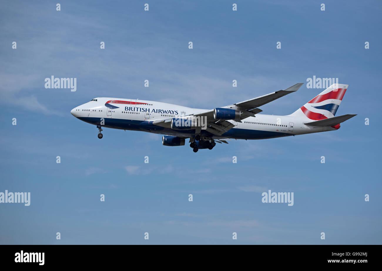 British Airways Boeing 747-436 Registration G-CIVT Jumbo Jet arriving at London Airport.  SCO 10,472. - Stock Image