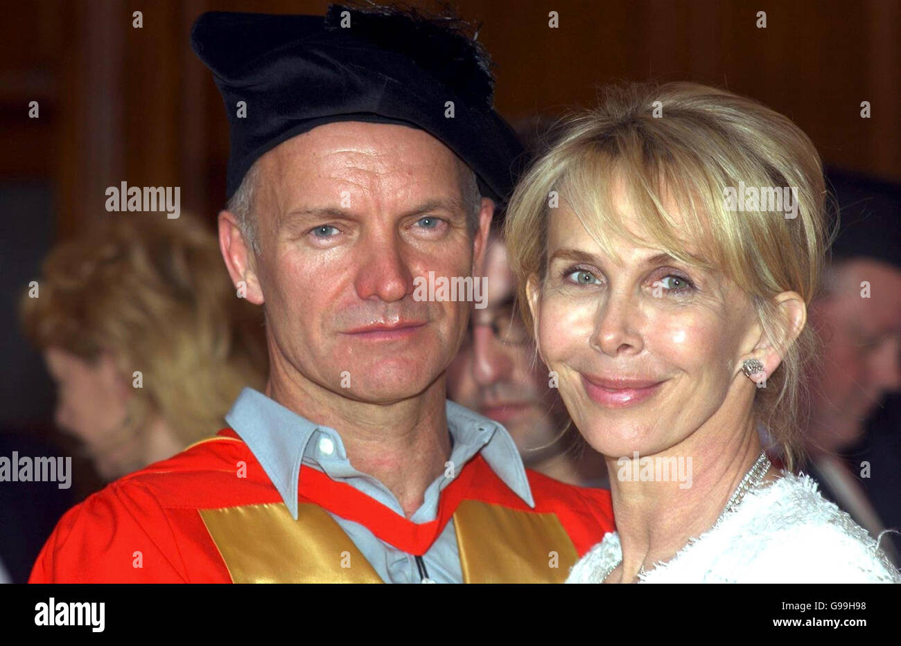 Singer-songwriter Sting stands with his wife Trudie Styler after recieving an honorary doctorate of music from Newcastle University. Stock Photo