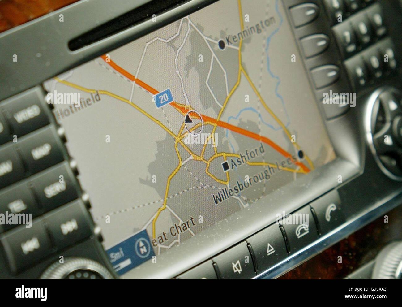 An built in satellite navigation system, sat nav in a car. - Stock Image