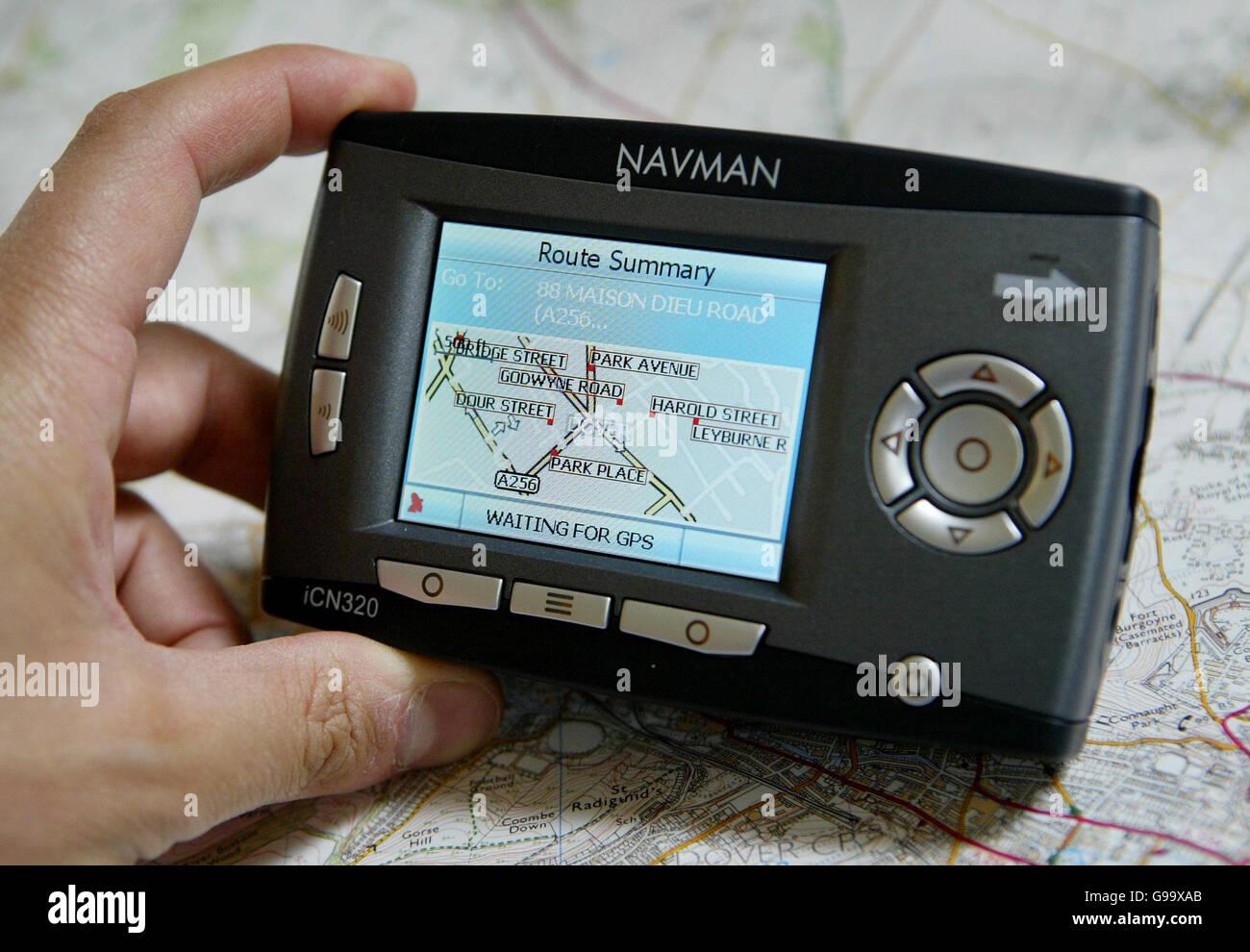 An in-built satellite navigation system, sat nav in a car. - Stock Image