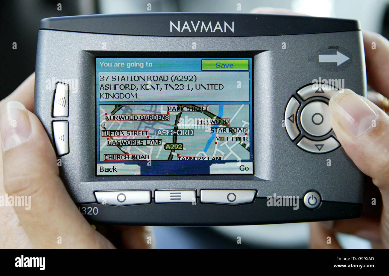An in-built satalite navigation system in a car. - Stock Image