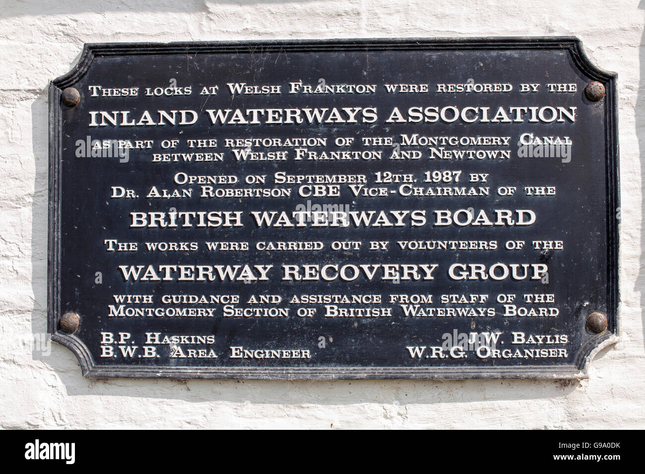 Inland Waterways Group Plaque the Montgomery Canal - Stock Image