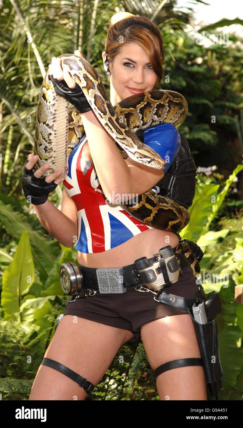 Karima Adebibe, the latest embodiment of video game heroine Lara Croft, during a photocall for the new game 'Lara - Stock Image