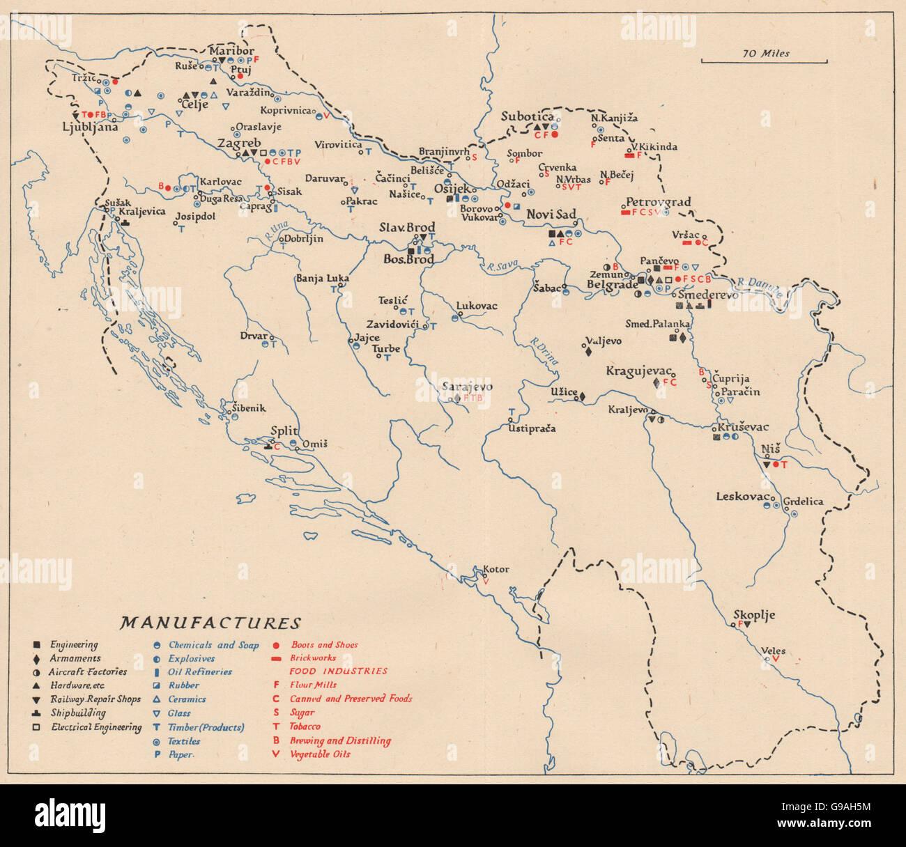 YUGOSLAVIA: Manufacturing industries. WW2 ROYAL NAVY INTELLIGENCE MAP, 1945 - Stock Image