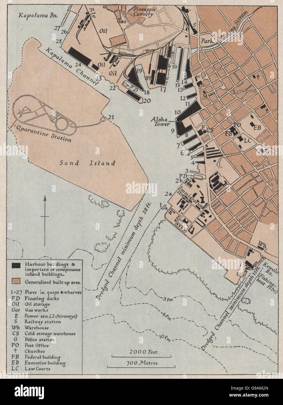 HAWAII: The port of Honolulu. WW2 ROYAL NAVY INTELLIGENCE MAP, 1943 - Stock Image