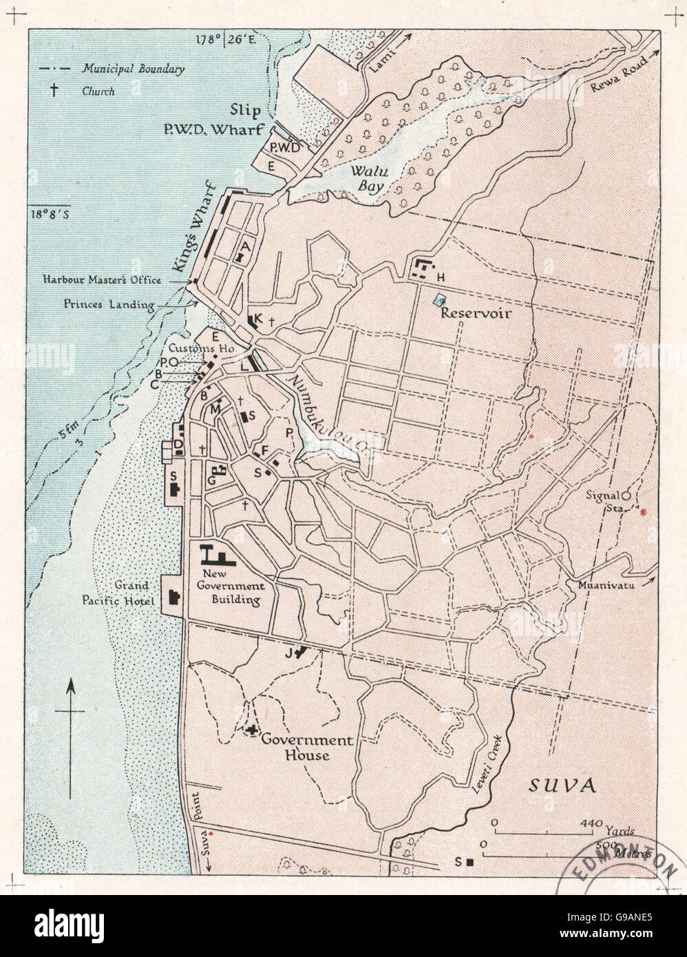 FIJI: Suva. WW2 ROYAL NAVY INTELLIGENCE MAP, 1944 - Stock Image