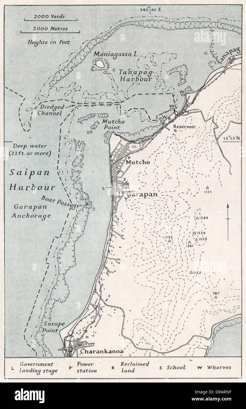 MARIANAS: Saipan harbour. WW2 ROYAL NAVY INTELLIGENCE MAP, 1944 - Stock Image