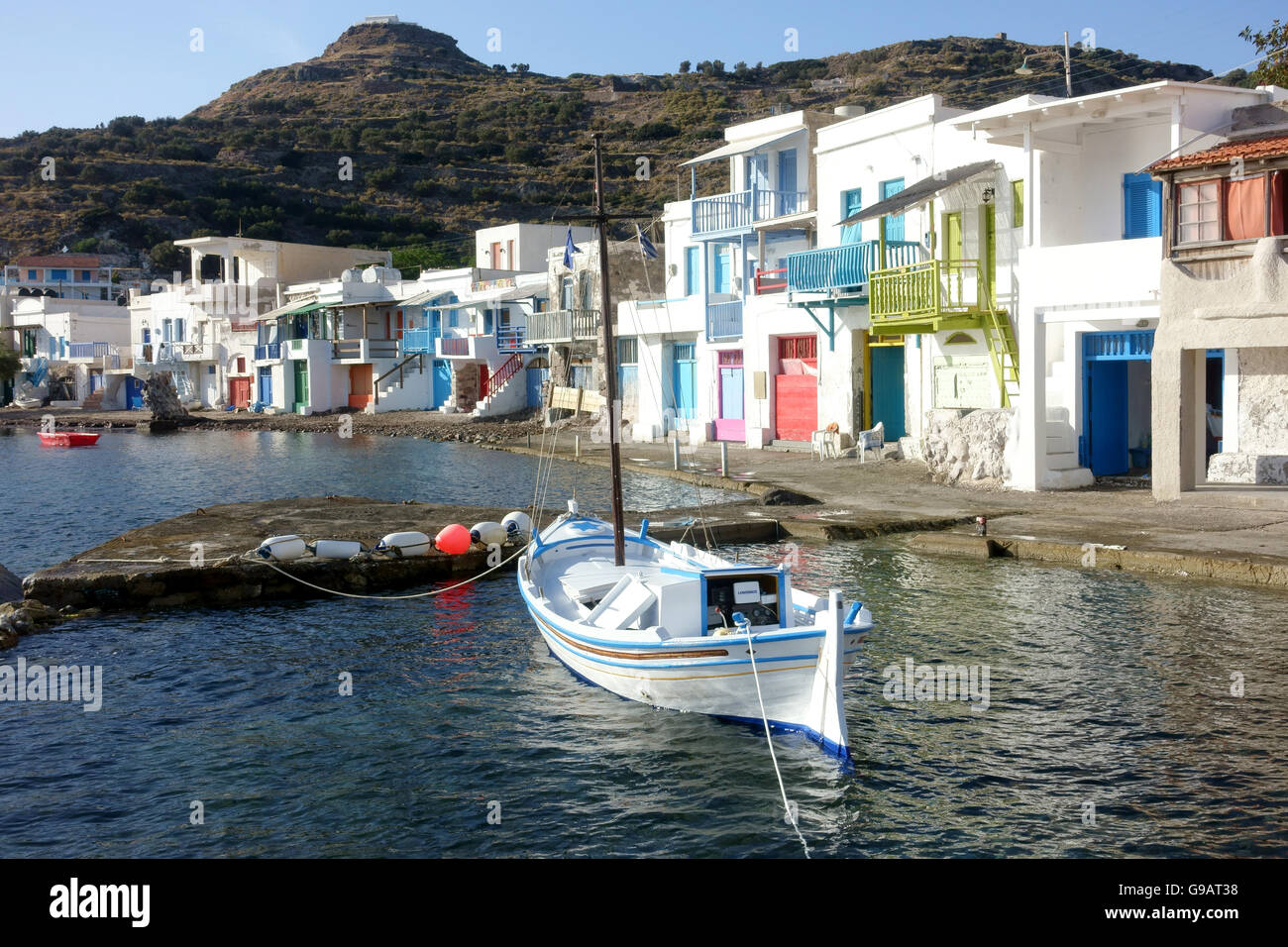 Klima fishing harbour and boat houses Milos Greece - Stock Image