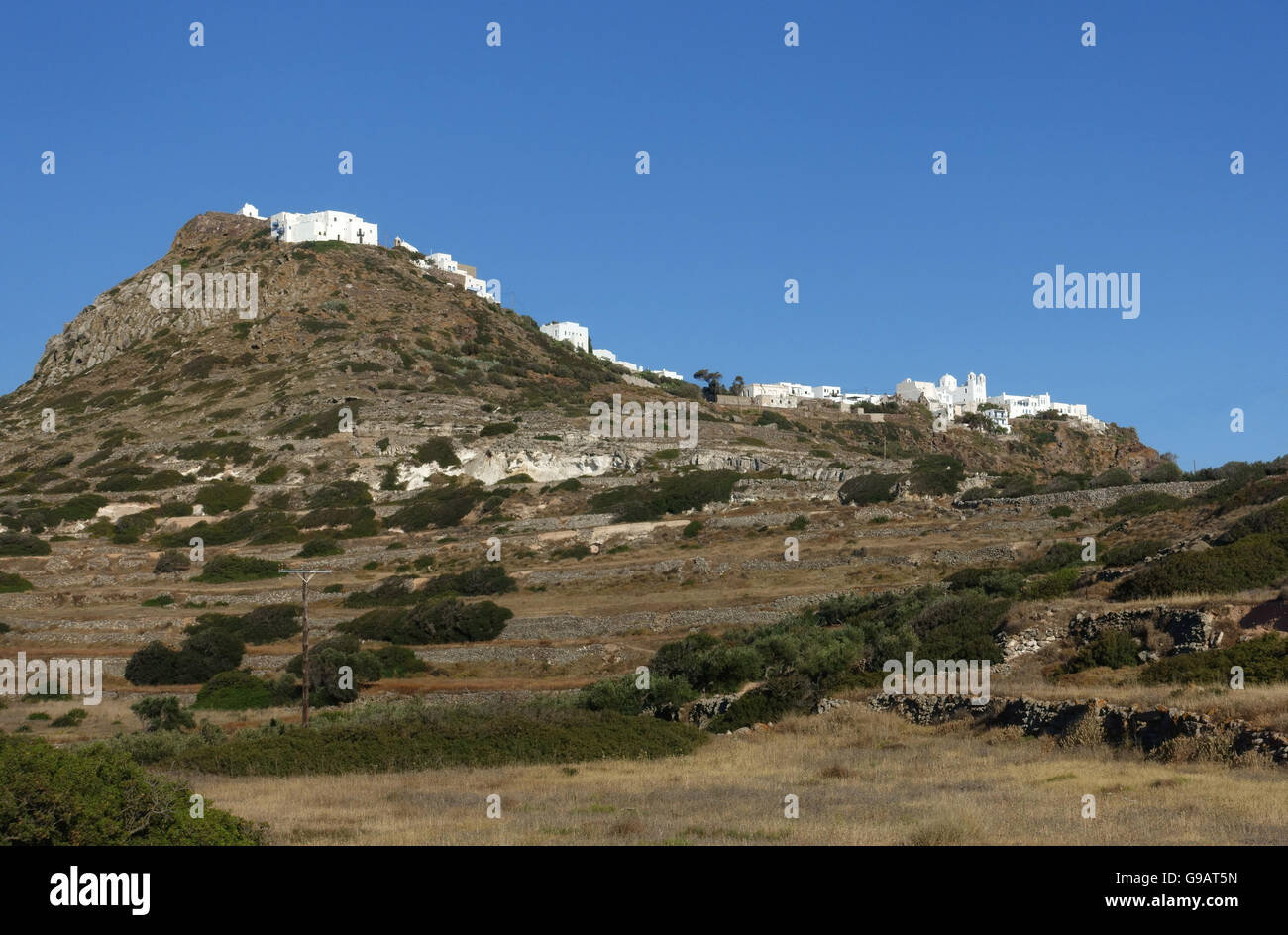 Castro and Plaka Milos Greece - Stock Image