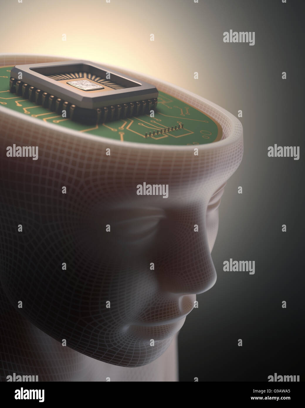 Microchip in place of the human brain. Concept of science and technology. - Stock Image