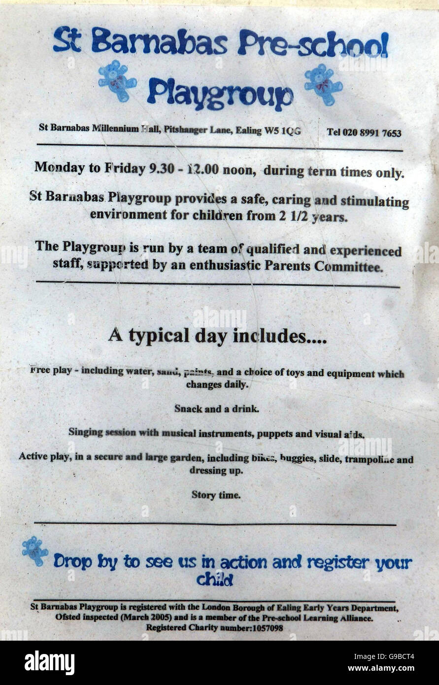 A sign for St Barnabas Pre-School Playgroup at St Barnabas Church Hall in Pitshanger lane Ealing, west London, where - Stock Image
