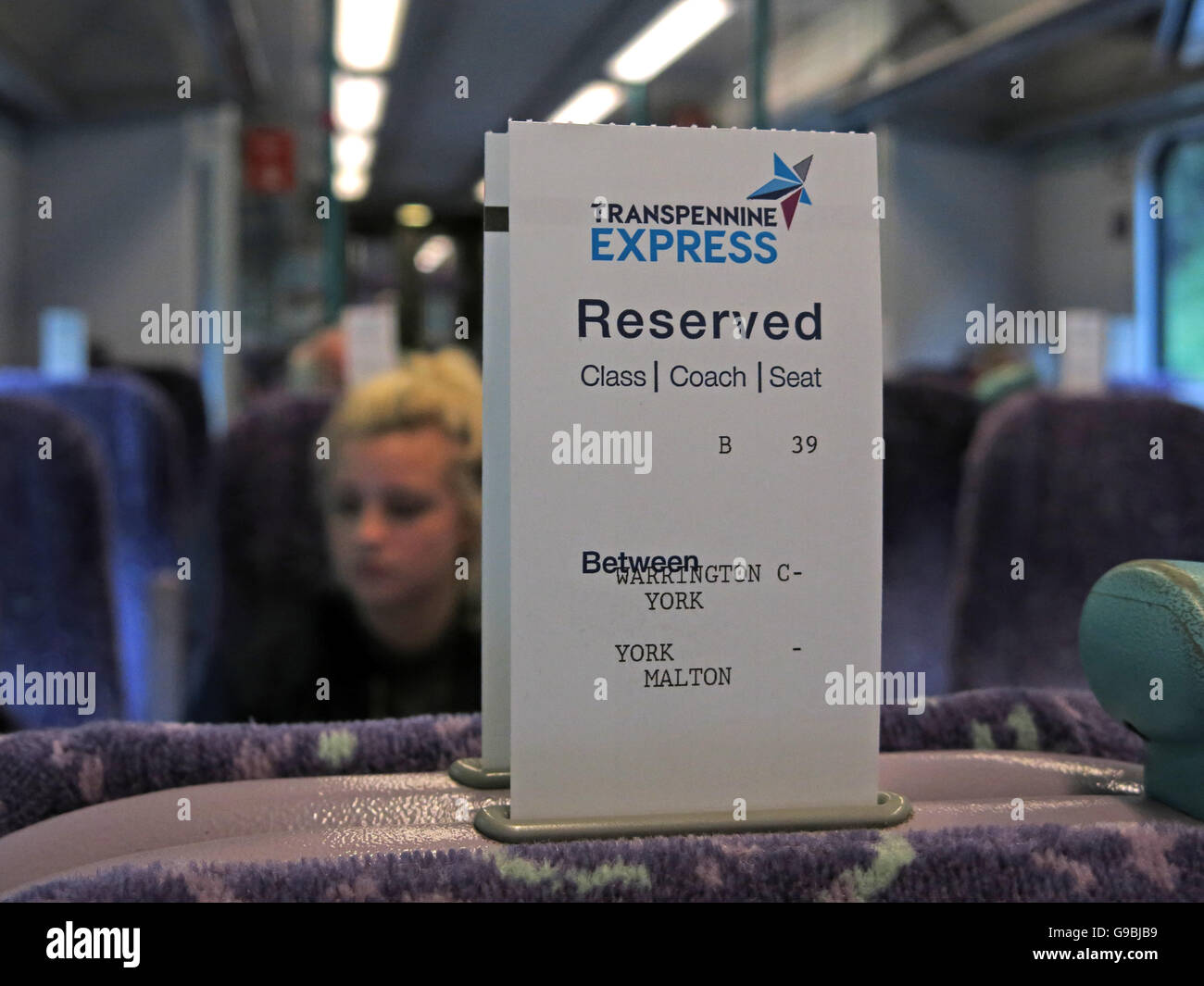 Transpennine Express Reservation,on train to York from Liverpool,England,UK - Stock Image