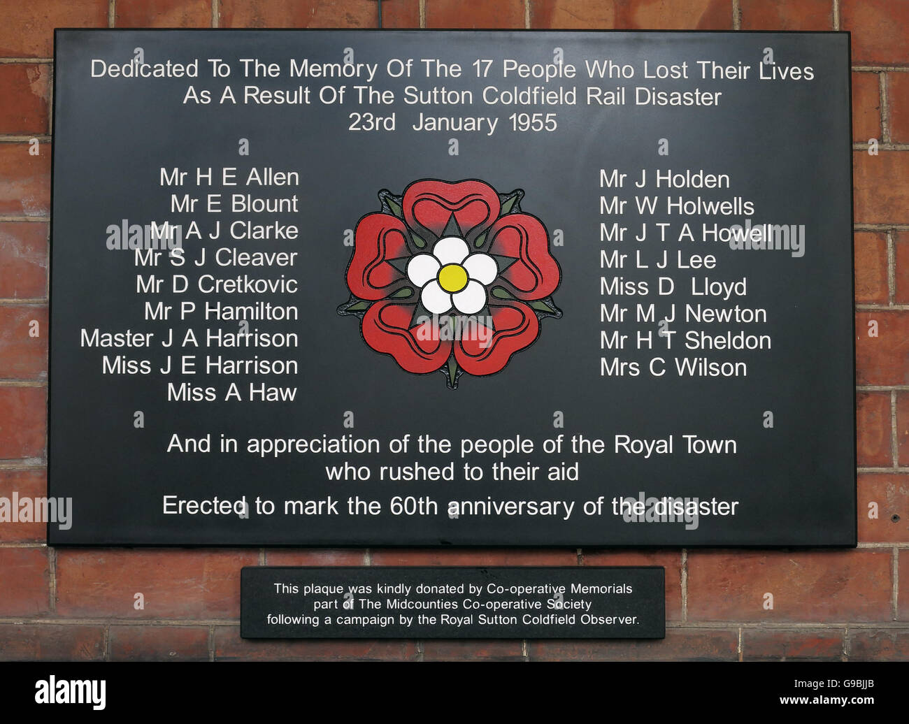 Sutton Coldfield Rail Disaster memorial,West Midlands,England,UK 23/01/1955 Stock Photo