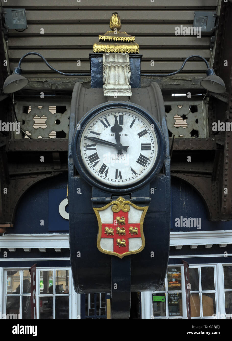 Vintage Electric Clock,York Railway Station,Yorkshire, England,UK - Stock Image