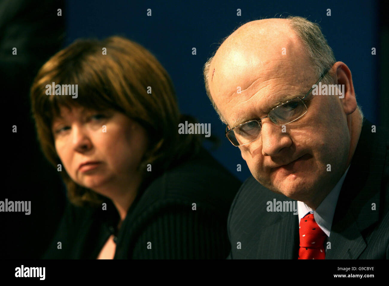 Tanaiste Mary Harney and Prof. Brendan Drumm CEO of the Health service executive speaking at the launch of the Irish - Stock Image