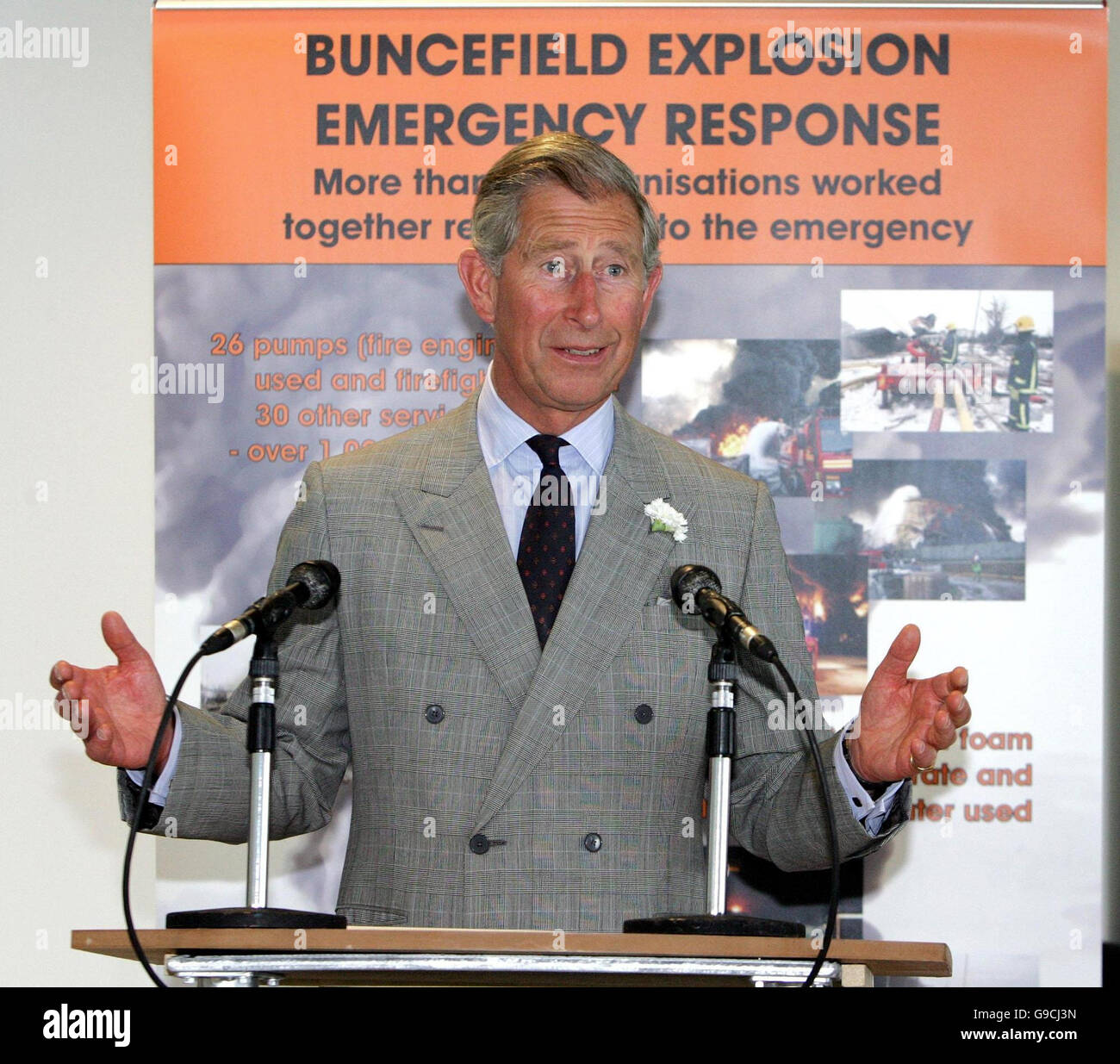 a89d77a11ff5 The Prince of Wales speaks to businesses and local people who were caught  up in the Buncefield oil depot fire last year