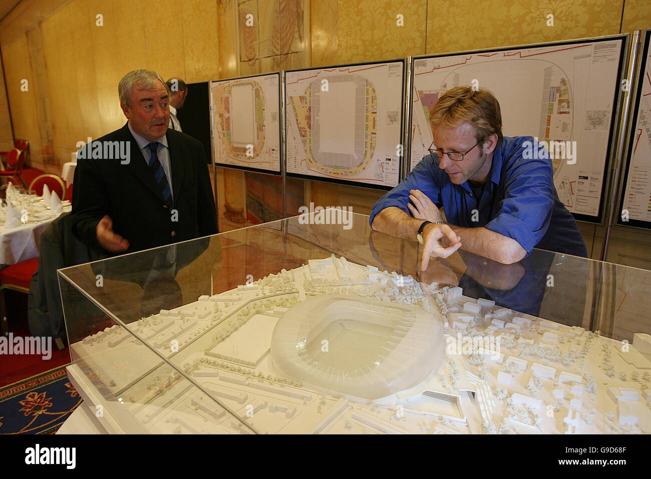 Members of the public and the IRFU were invited to view the Scale model of the new design for Lansdowne Rd Stadium - Stock Image