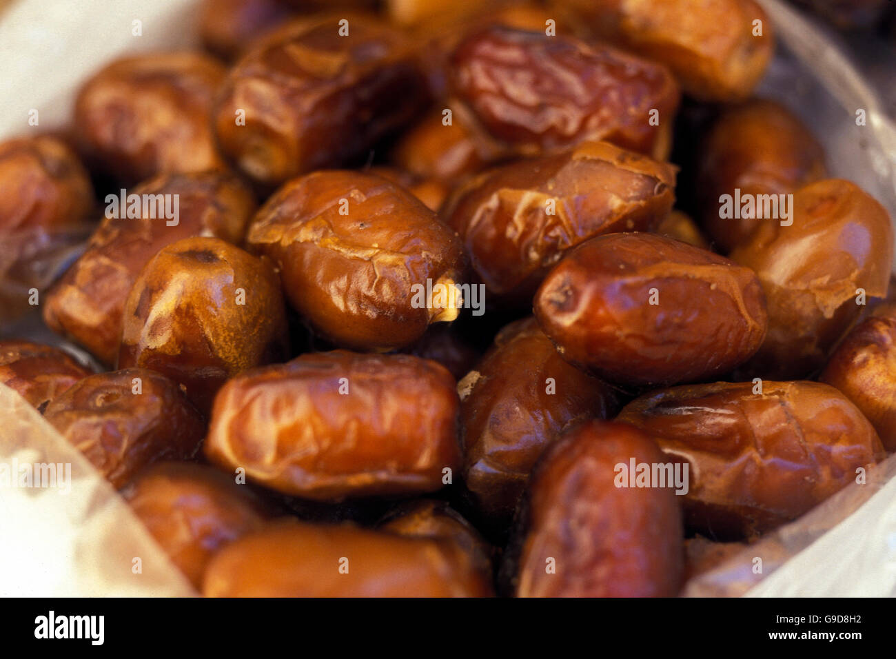 dates at the market in the Oasis and village of Siwa in the lybian or western desert of Egypt in north africa - Stock Image