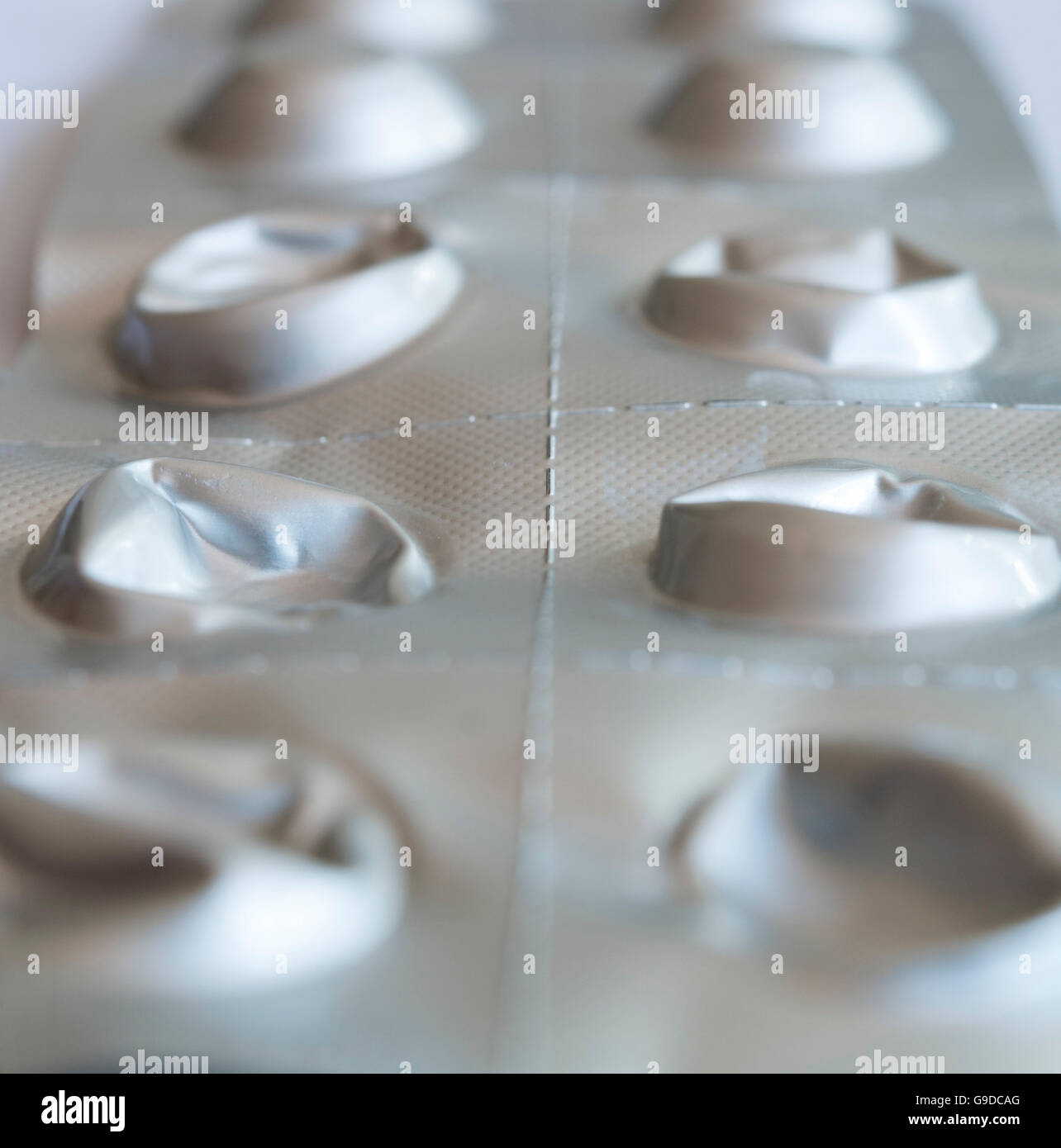 used foil blister packet for medicine tablets. - Stock Image
