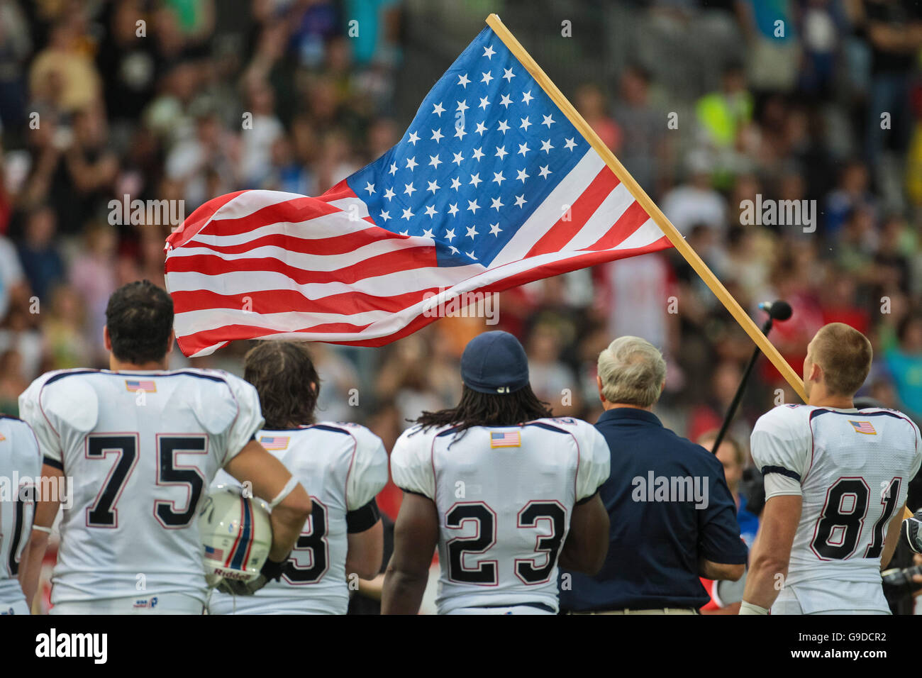 Team USA during the national anthem at the Football World Championship on July 10, 2011, USA wins 48:7 against Germany - Stock Image