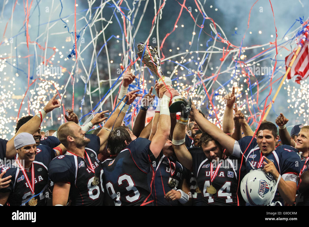 Team USA celebrates the victory at the Football World Championship on July 16, 2011, USA wins 50:7 against Canada - Stock Image