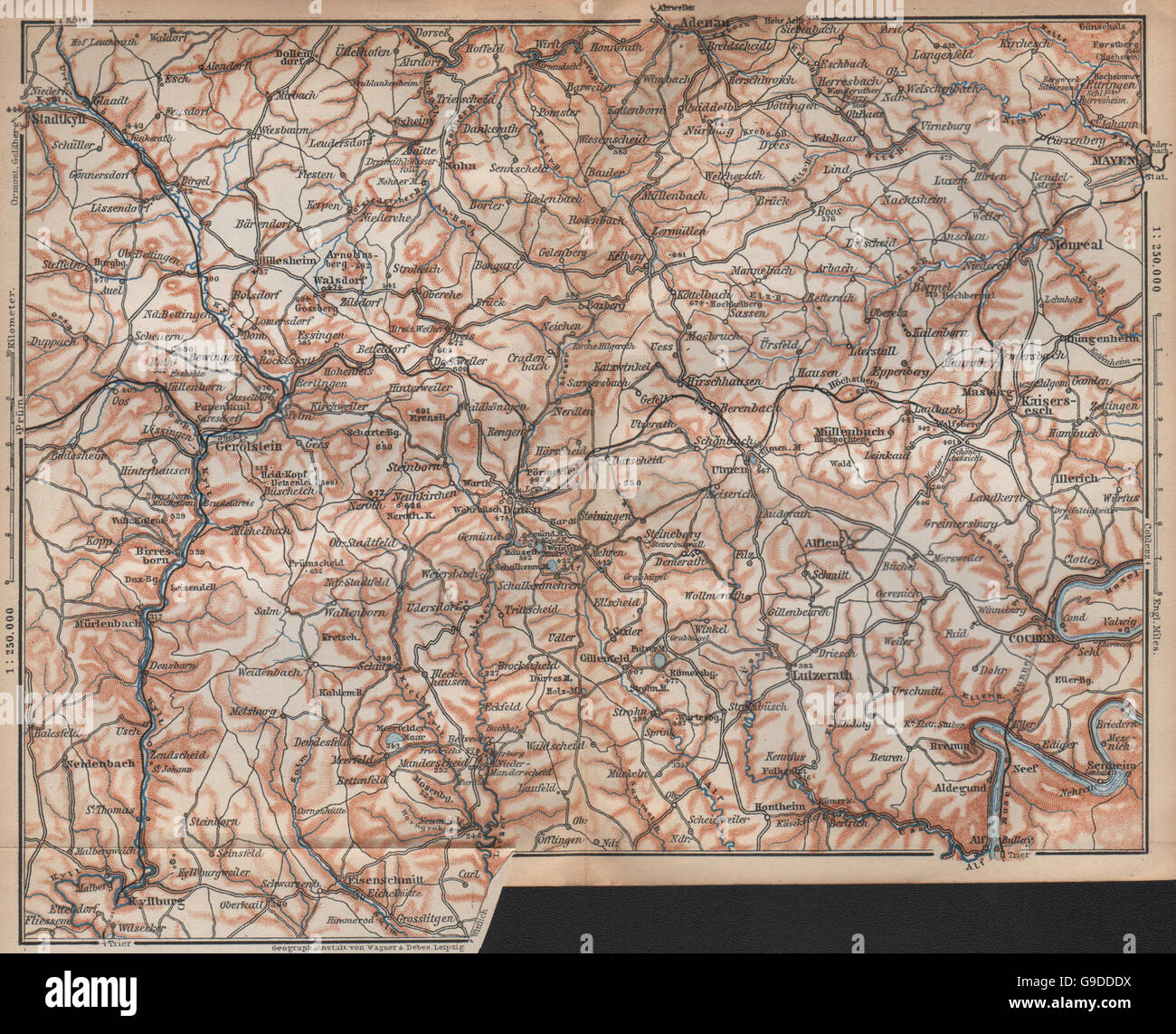 the volcanic eifel topo map gerolstein germany karte 1896