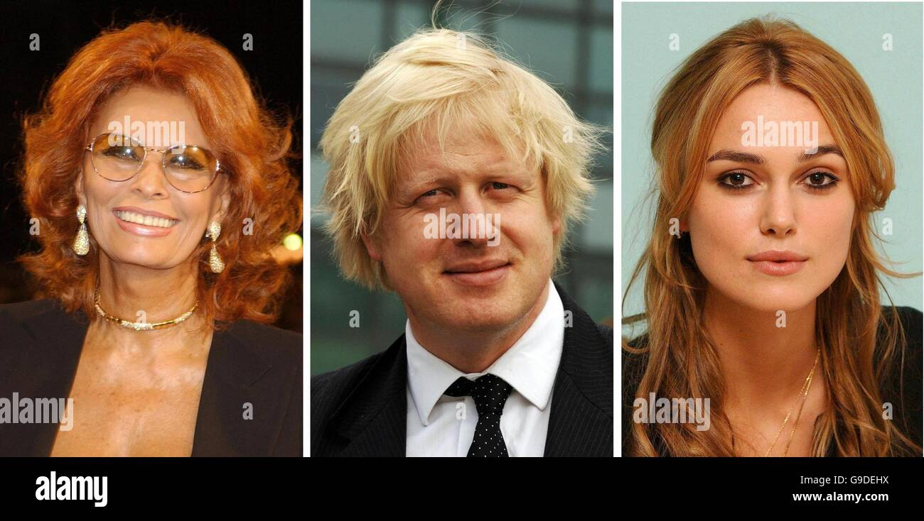 Library filers of Sophia Loren, Boris Johnson and Keira Knightley dated 30/08/2002, 07/04/2006 and 13/12/2005 respectively. - Stock Image