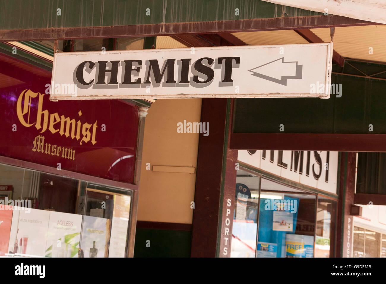 Chemist shop sign,  Western Australia - Stock Image