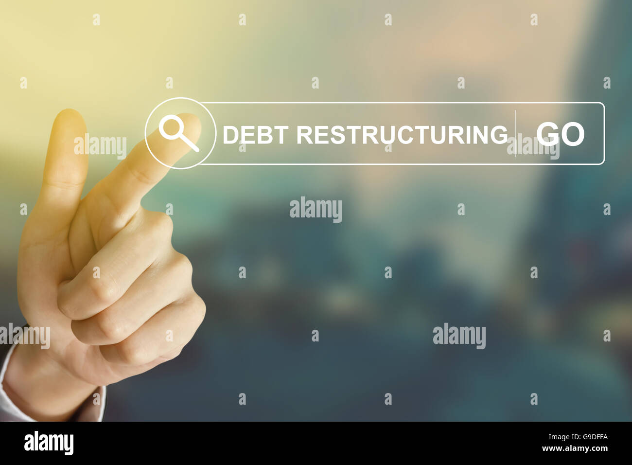 business hand clicking debt restructuring button on search toolbar with vintage style effect - Stock Image