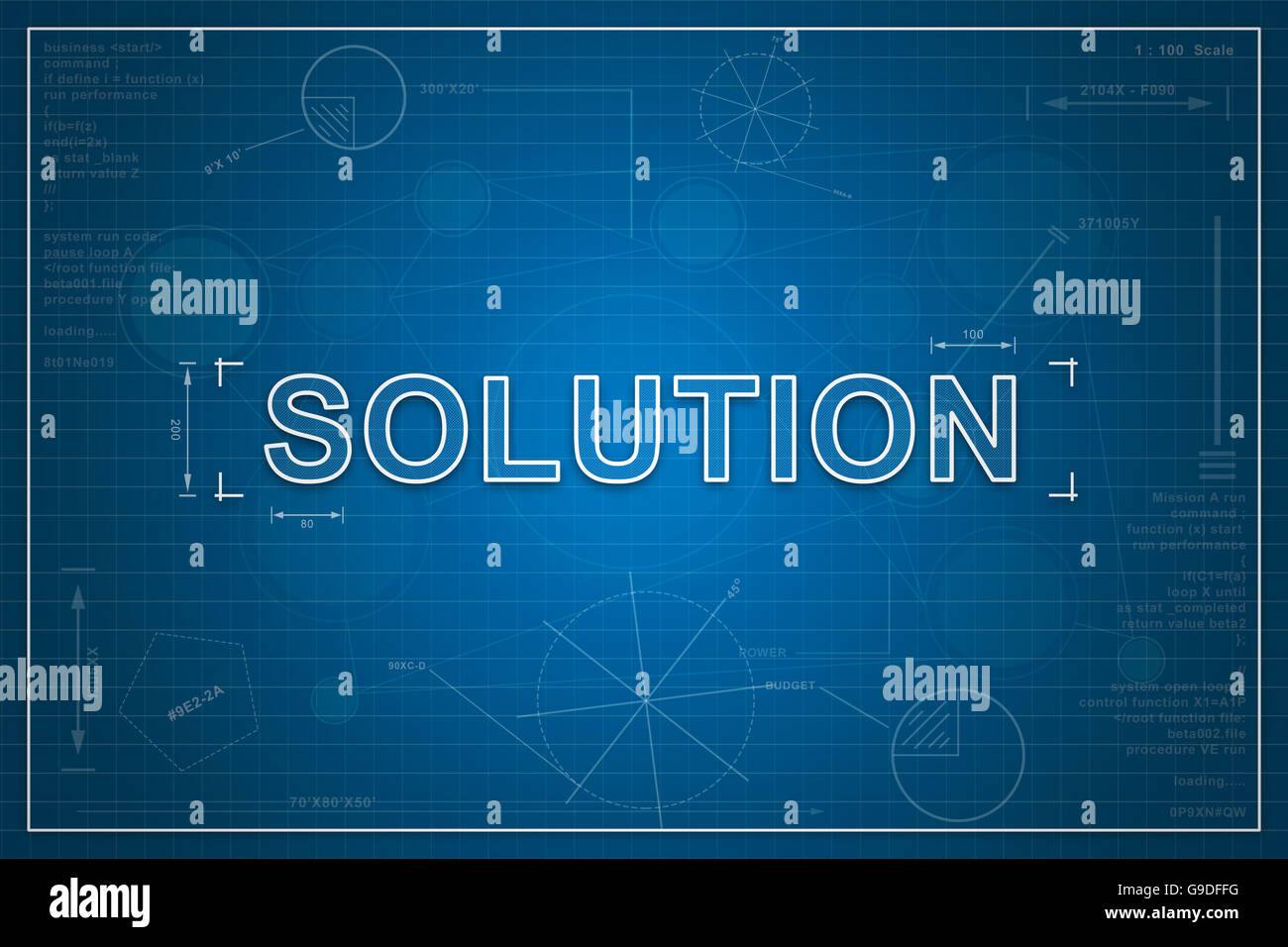 Solution On Paper Blueprint Background, Business Concept   Stock Image