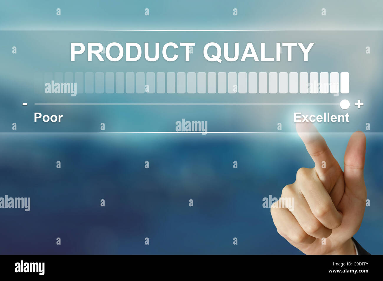 business hand pushing excellent product quality on virtual screen interface - Stock Image