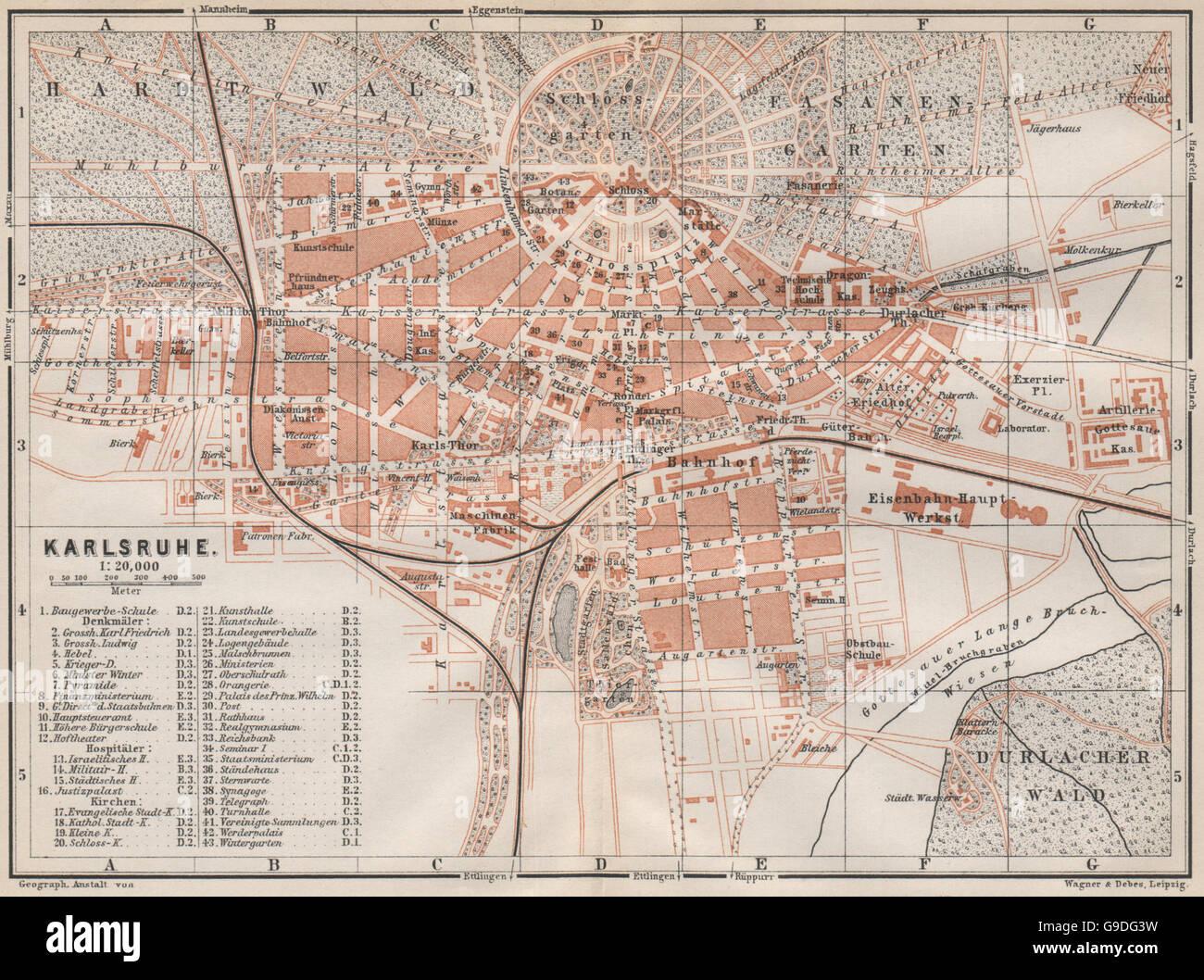 Karte Karlsruhe.Karlsruhe Antique Town City Stadtplan Baden Württemberg Karte 1889