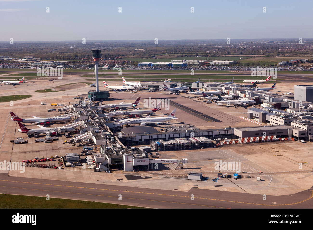 Aerial view of the London Heathrow Airport - Stock Image