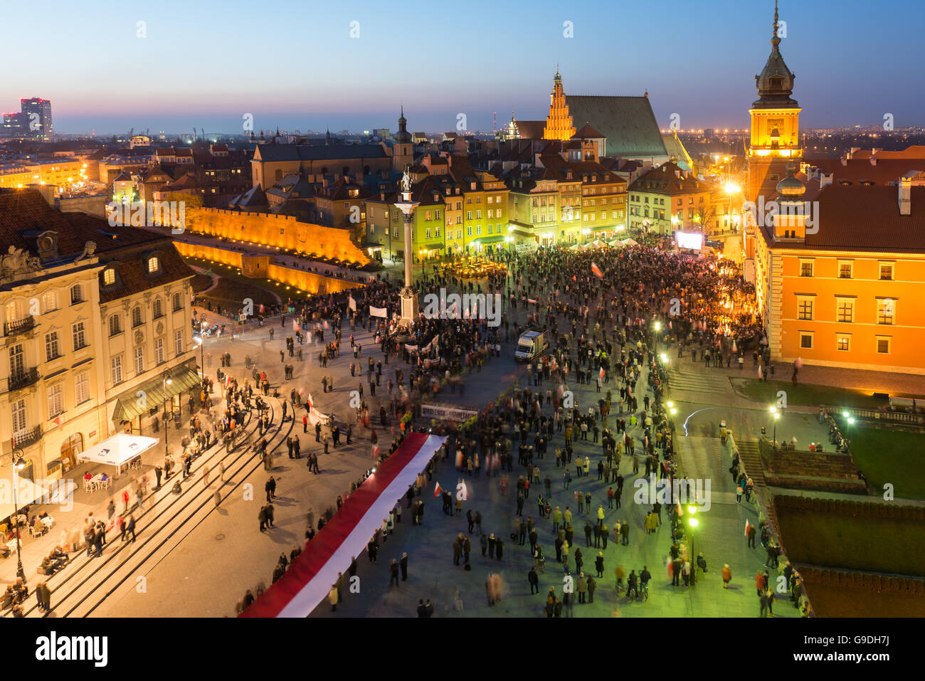 Warsaw, Poland - April 10, 2015. Poland remembers Smolensk air crash five years ago. - Stock Image