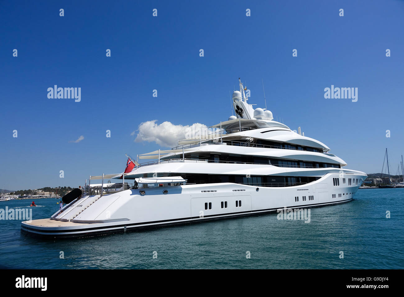 Lady Lara a super yacht in Ibiza Old Town harbour Stock