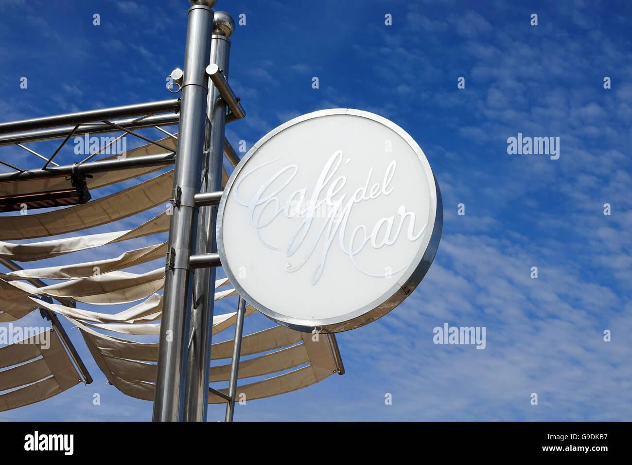 Cafe del Mar sign San Antonio Ibiza Spain beach resort - Stock Image