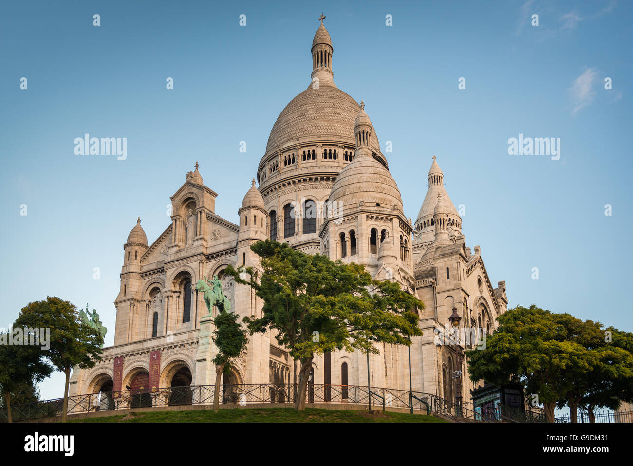 Sacre-Coeur Basilica early in the morning at first sunlight . - Stock Image