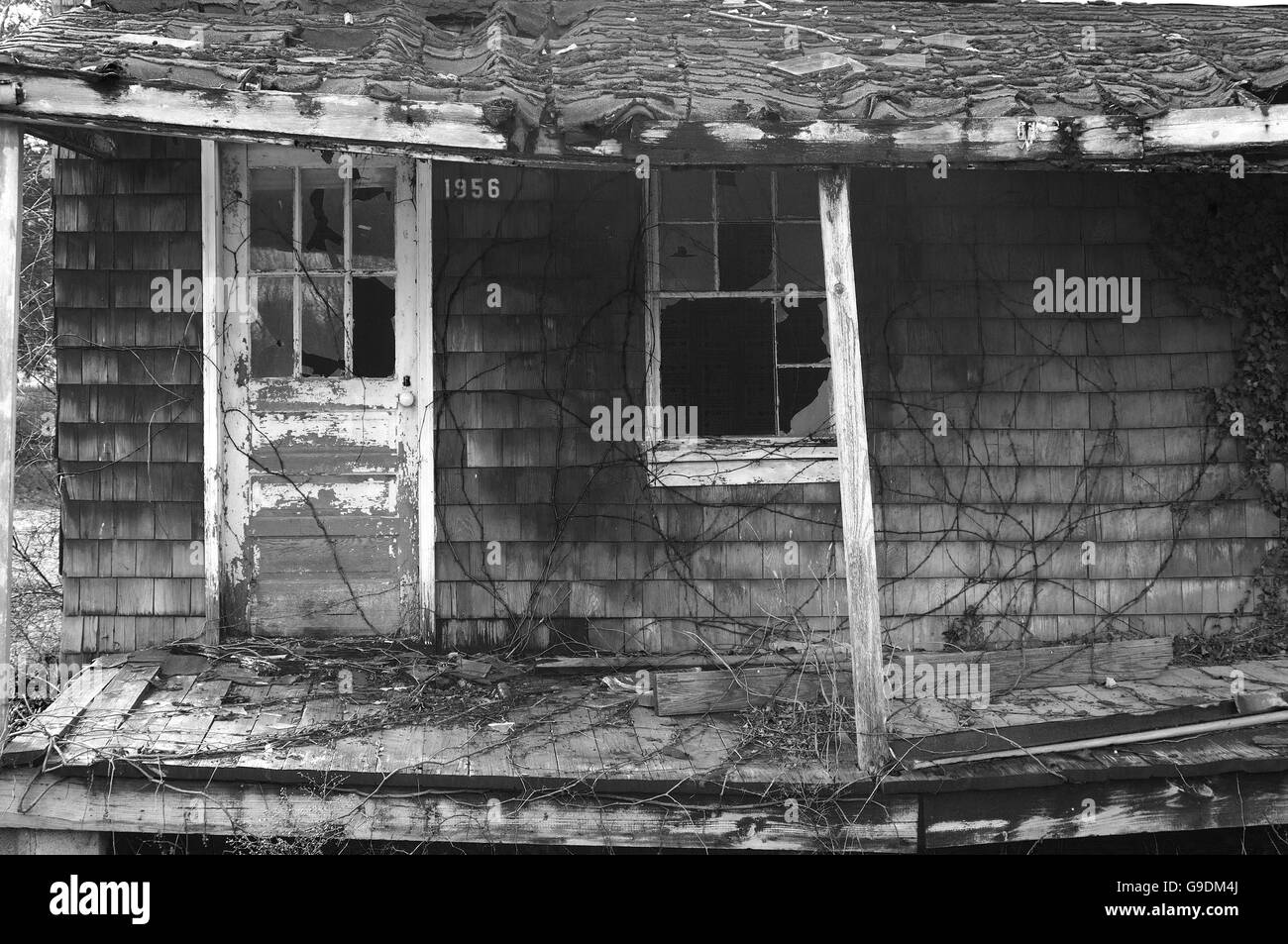 A dilapidated porch in Maryland. - Stock Image