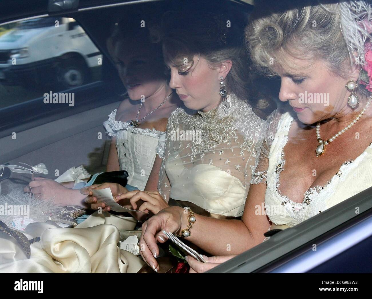 Unidentified guests arrive for Princess Beatrice's Victorian-themed 18th biirthday party at Windsor Castle. - Stock Image