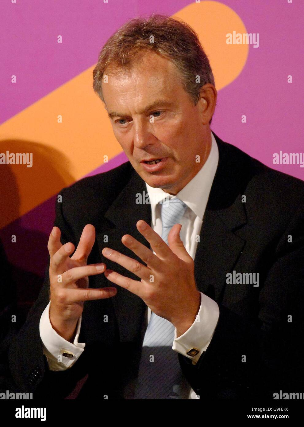 Britain's Prime Minister Tony Blair gives a keynote speech on social exclusion at the Folk Hall, New Earswick - Stock Image