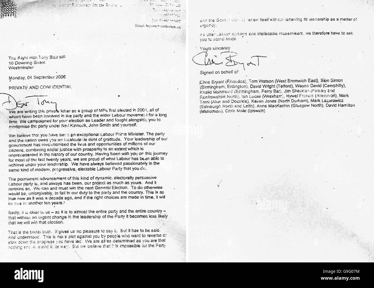 Letter sent by MPs to Tony Blair calling for his resignation - Stock Image